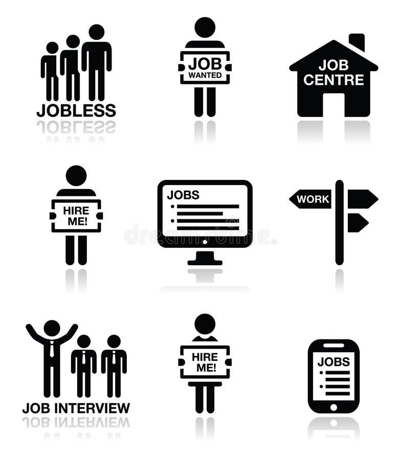 Bezrobocie, akcydensowy szuka ikony ustawiać ilustracji