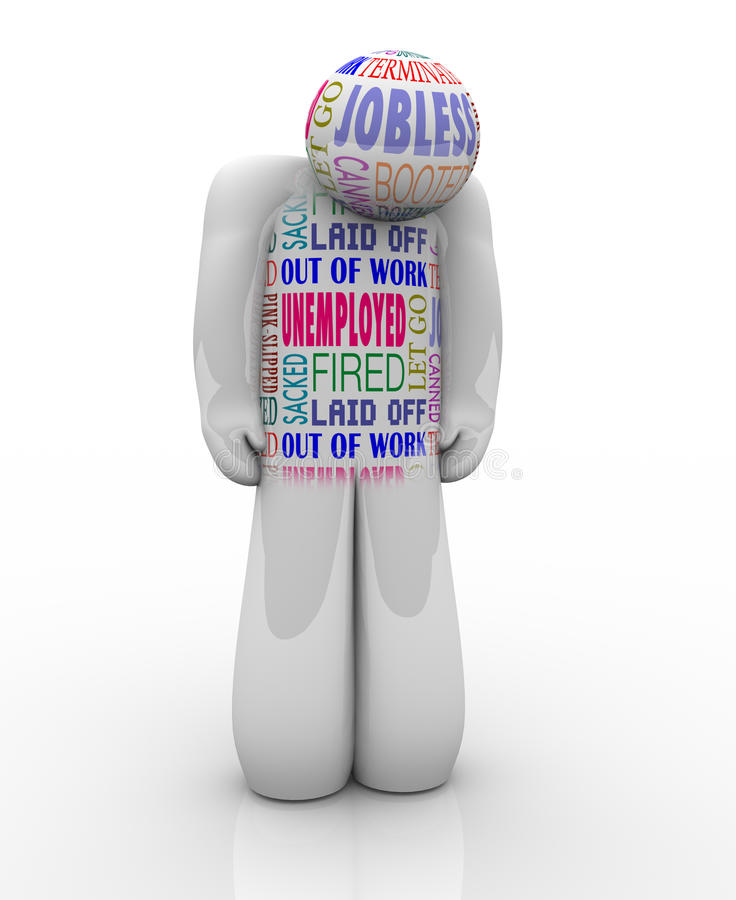 Bezrobotnej osoby Smutny Podpalający Bezrobotny Chce pracę ilustracji