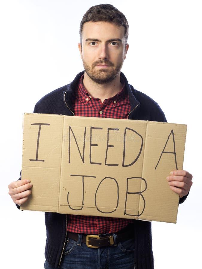Bezrobotny mężczyzna odizolowywający na białym tle fotografia stock