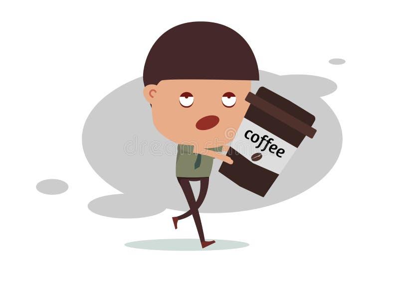Bezsenna biznesowego mężczyzna potrzeby kawa obrazy royalty free