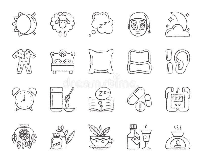 Bezsenność węgla drzewnego remisu linii ikon wektoru set ilustracja wektor