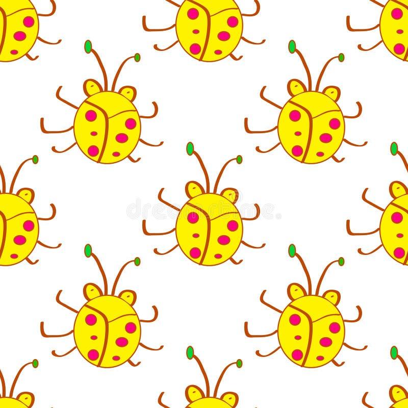 Bezszwowa ściga, pluskwy kreskówki żółty wzór W dzieciaka stylu Tło z szczęśliwymi insektami Kolorowa ręka rysujący druk Wektorow ilustracja wektor