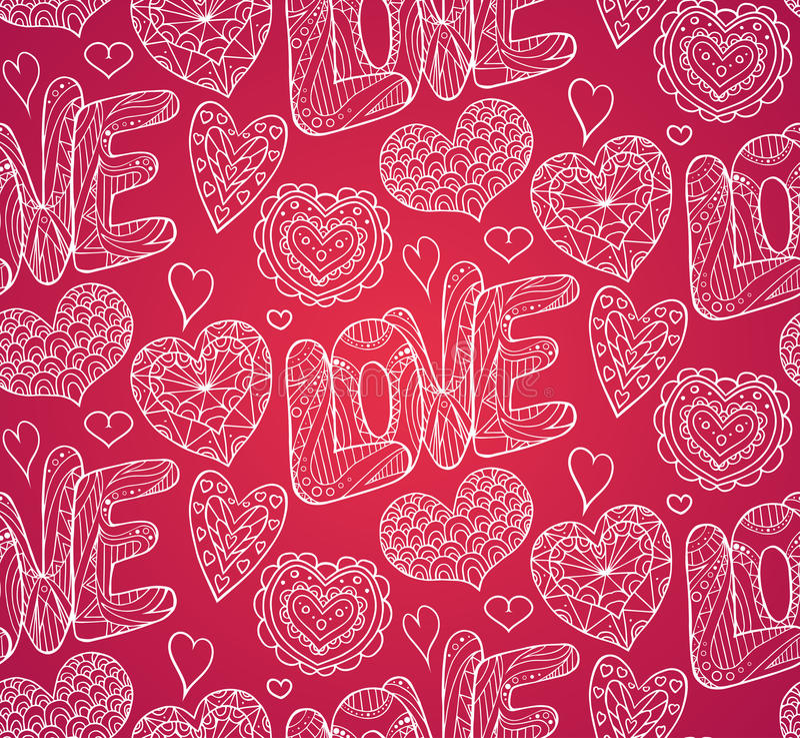 Bezszwowa świąteczna tekstura z doodle miłością i sercami ilustracja wektor