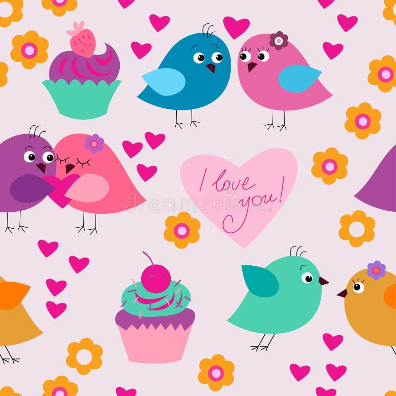 Bezszwowa świąteczna tekstura z ptakami w miłości i babeczkach ilustracji