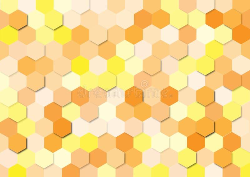 Bezszwowa Żółta i Pomarańczowa sześciokąt tekstura dla Abstrakcjonistycznego tła ilustracji