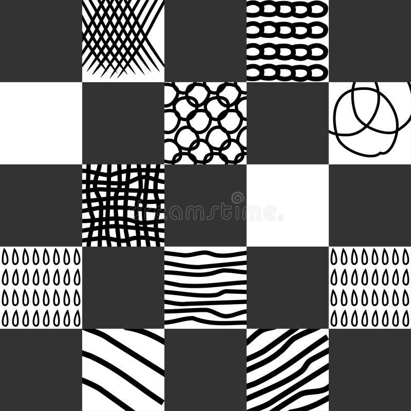 Bezszwowa abstrakcjonistyczna ręka rysujący wzór z czerni uderzeniami na białym tle royalty ilustracja