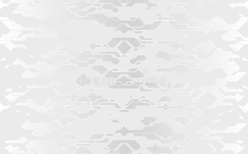 Bezszwowa abstrakcjonistyczna wektorowa futurystyczna srebna sukienna techno tekstura Adamaszkowa biała linia na szarość royalty ilustracja