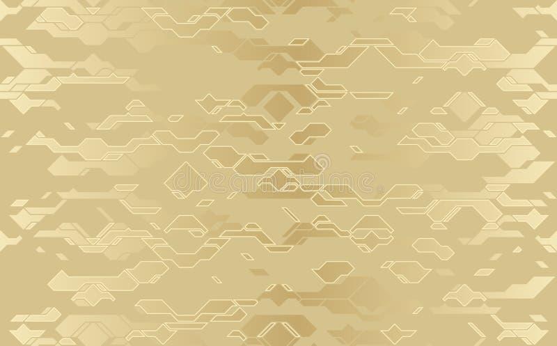 Bezszwowa abstrakcjonistyczna wektorowa futurystyczna złota sukienna techno tekstura Adamaszkowy kreskowy tło royalty ilustracja