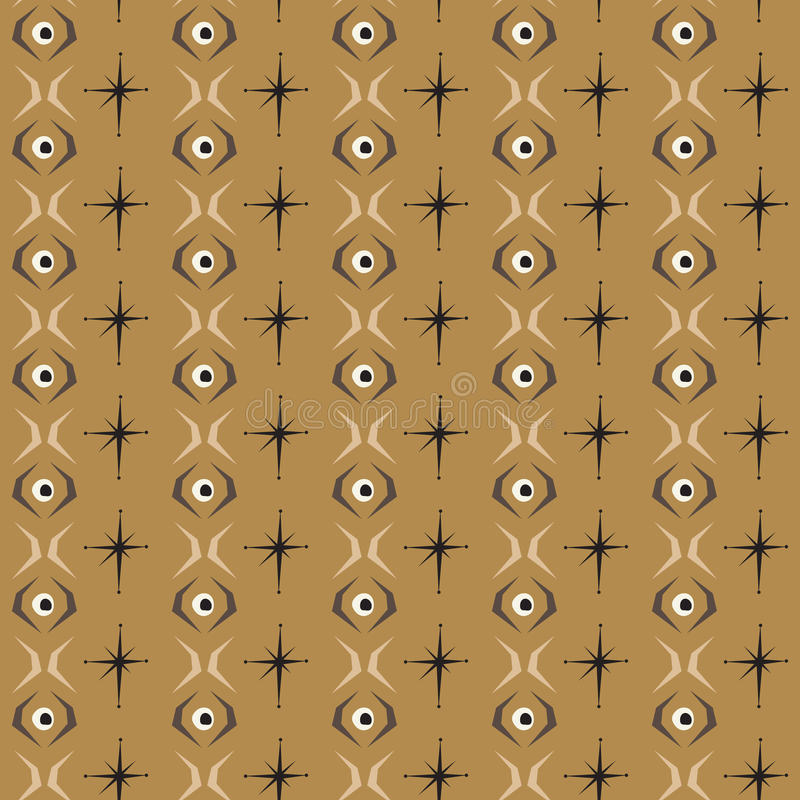 Bezszwowa abstrakta wzoru oka płytka z brown tłem ilustracji