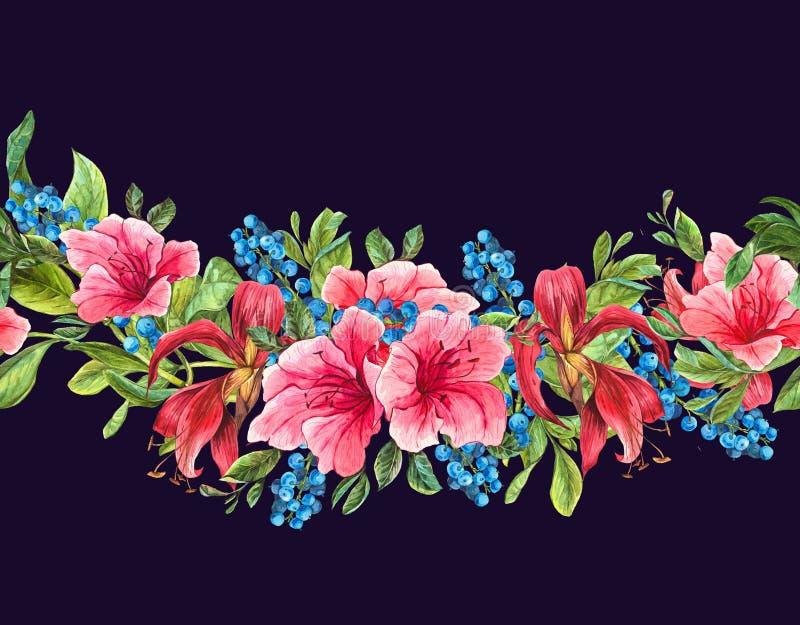 Bezszwowa akwareli granica z Tropikalnymi kwiatami ilustracja wektor