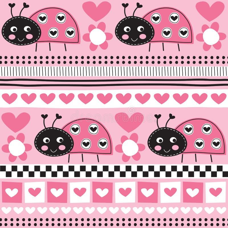Bezszwowa aztec ladybird wzoru wektoru ilustracja ilustracji