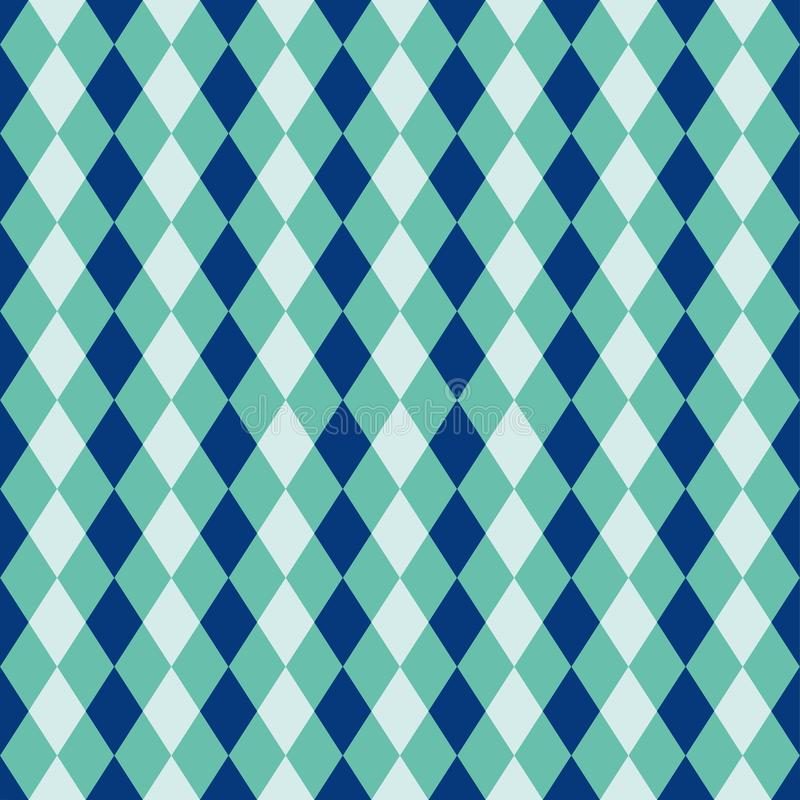 Bezszwowa błękitna i turkusowa diamentowa arlekińska tło wzoru tekstura royalty ilustracja