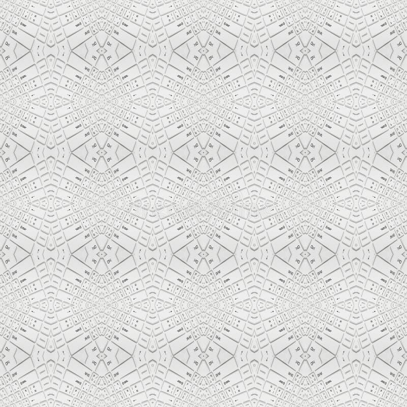 Bezszwowa biała klawiatura, abstrakcjonistyczny tło ilustracji