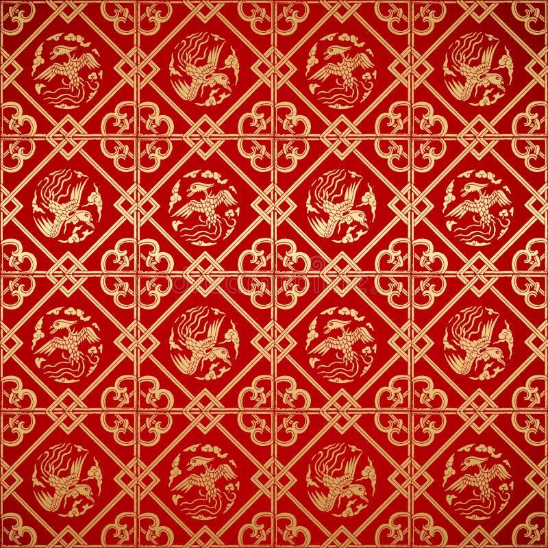 Bezszwowa Chińska rocznika adamaszka tapeta royalty ilustracja