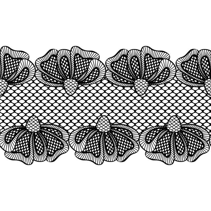 Bezszwowa czarna kwiat koronki granica, faborek ilustracji