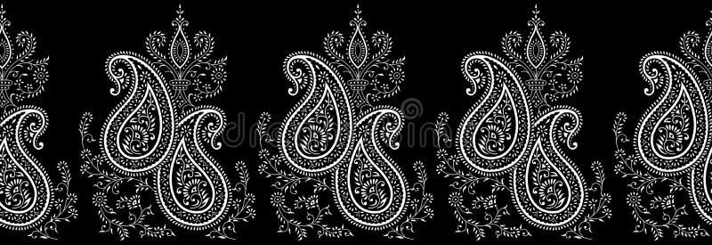 Bezszwowa czarny i biały Paisley granica ilustracji