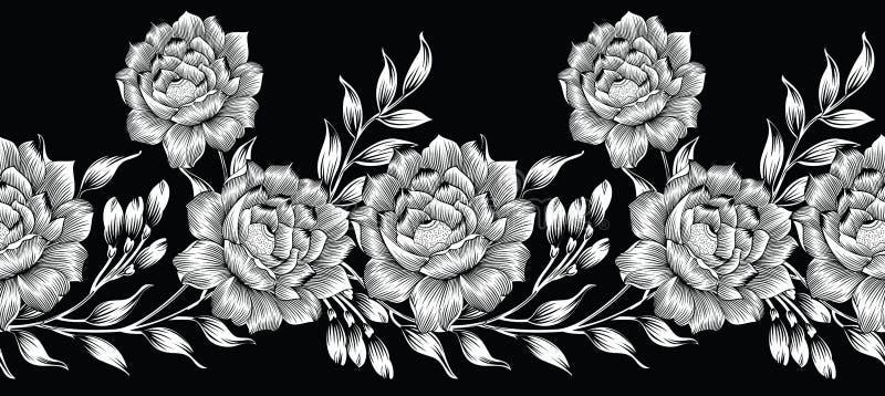 Bezszwowa czarny i biały tekstylna kwiecista granica royalty ilustracja