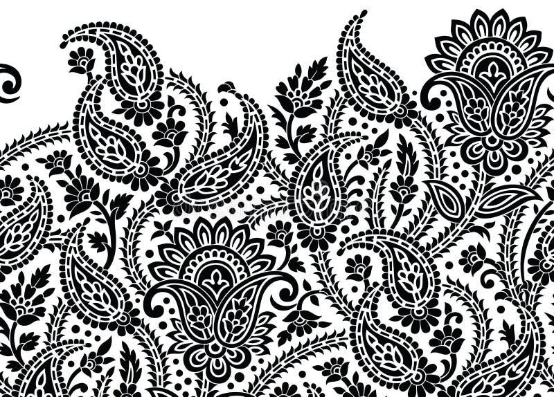Bezszwowa czarny i biały tradycyjna hindusa Paisley granica ilustracja wektor