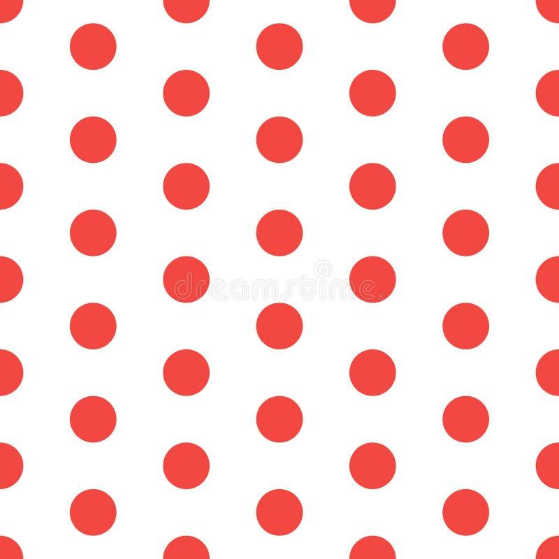 Bezszwowa czerwień kropkujący wzór Polki kropki Tło Abstrakcjonistyczna tekstura z kropkami Prosty minimalistic graficzny projekt royalty ilustracja