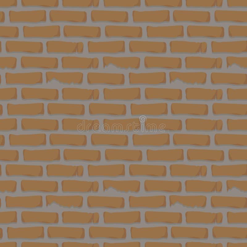 Bezszwowa deseniowa ściana z cegieł pomarańcze z cementowej budowy moździerzową gliną dryluje tło wektor royalty ilustracja