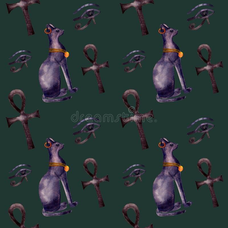 Bezszwowa deseniowa akwarela z ibisem, egipski symbol ilustracja wektor