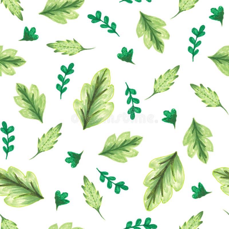 Bezszwowa deseniowa akwarela zieleń liście, ręka obrazu rośliny ilustracja dla mody tkaniny ilustracja wektor