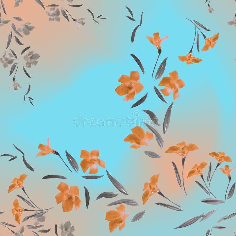 Bezszwowa deseniowa akwareli pomarańcze kwitnie na turkusowym marchwianym tle royalty ilustracja