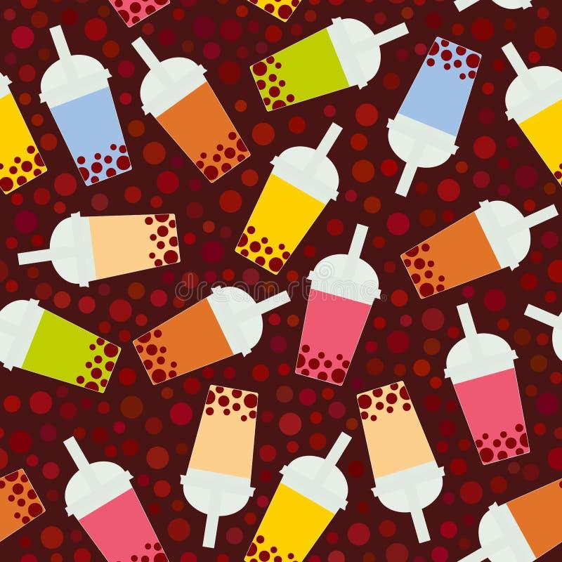 Bezszwowa deseniowa bąbel herbata z różnymi owoc i jagodami Dojni koktajle w plastikowej filiżance, tubule Różni rodzaje bąbel Te ilustracja wektor