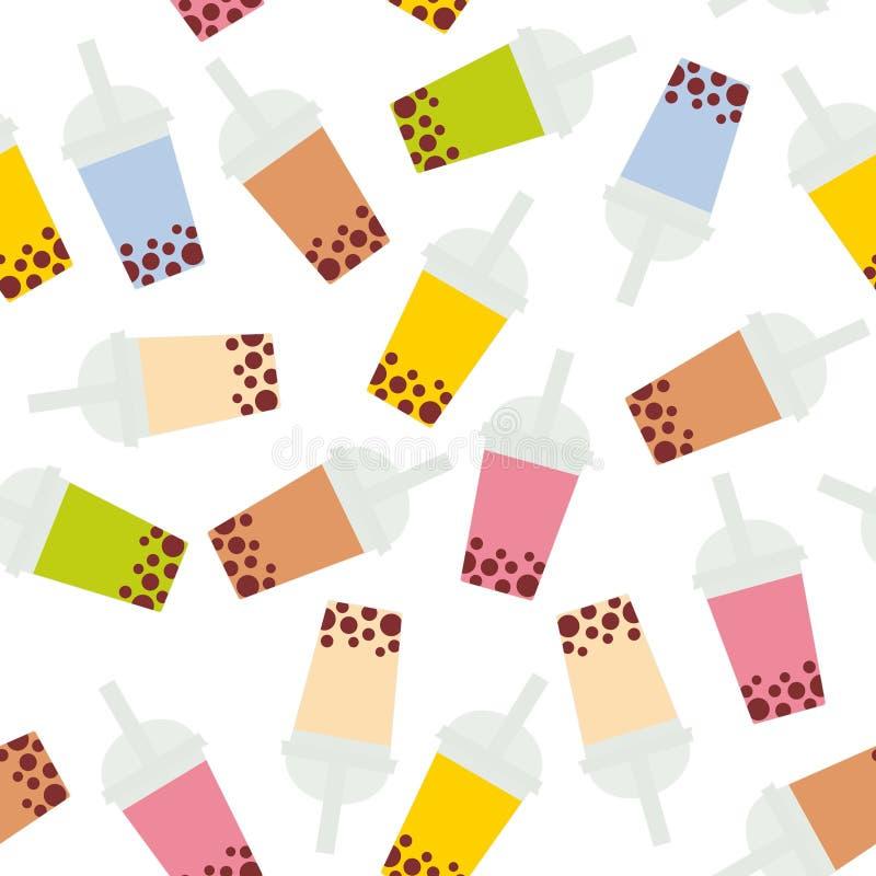 Bezszwowa deseniowa bąbel herbata z różnymi owoc i jagodami Dojni koktajle w plastikowej filiżance, tubule Różni rodzaje bąbel Te royalty ilustracja