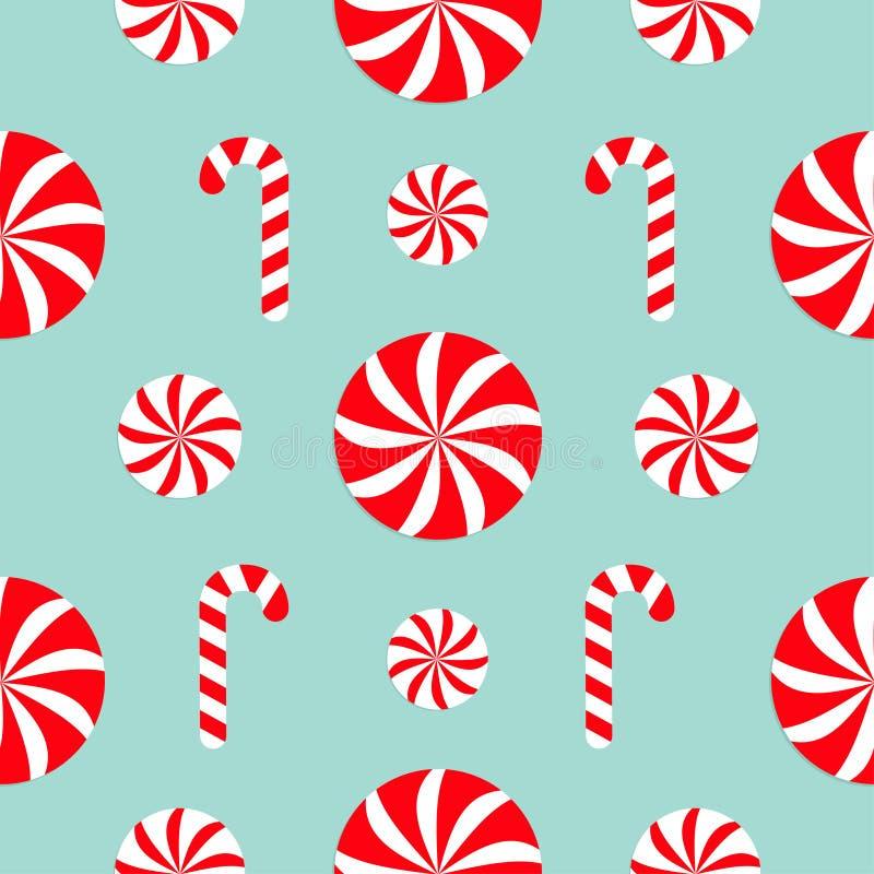 Bezszwowa deseniowa dekoracja Bożenarodzeniowy trzciny biały i czerwony cukierku Round cukierki set Opakunkowy papier, tekstylny  royalty ilustracja