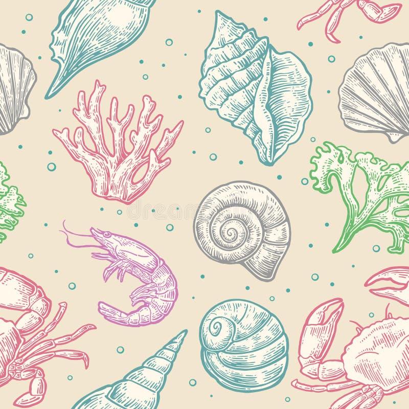 Bezszwowa deseniowa denna skorupa, koral, krab i garnela, royalty ilustracja