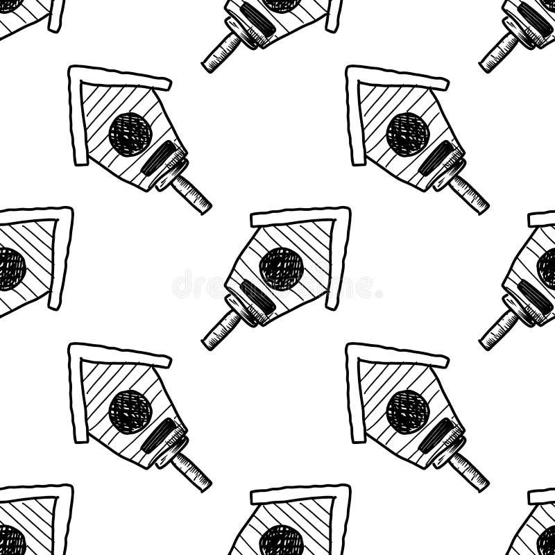 Bezszwowa deseniowa Handdrawn doodle birdhouse ikona o szyldowy symbol Dekoracja element bia?y ilustracji