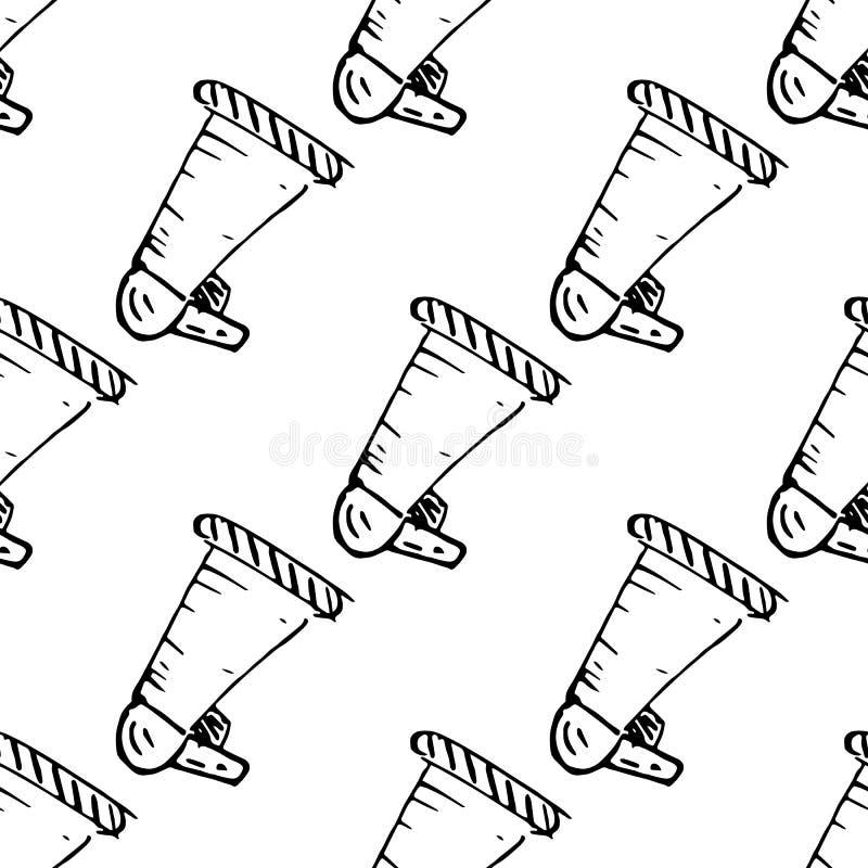 Bezszwowa deseniowa Handdrawn głośnikowa doodle ikona R?ka rysuj?cy czarny nakre?lenie szyldowy symbol Dekoracja element Bia?y t? ilustracji
