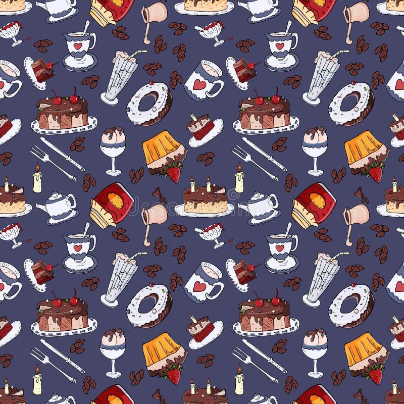 Bezszwowa deseniowa ilustracja ciasteczko cukierki, błękita plecy ilustracji