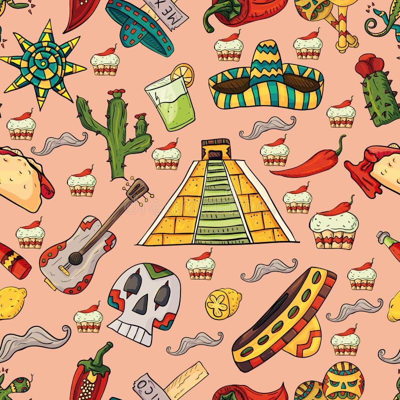 Bezszwowa deseniowa ilustracja na odosobnionym tło meksykanina ele royalty ilustracja