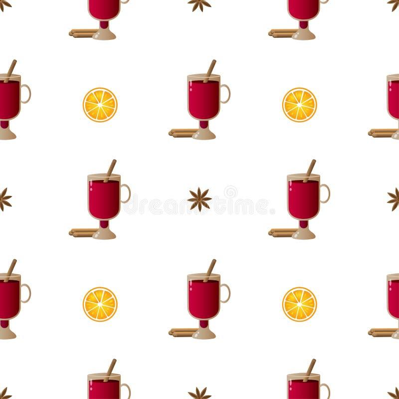 Bezszwowa deseniowa ilustracja z składem cynamonowi kije, irlandzcy szkła z rozmyślającym winem i pomarańcze plasterki z kardamon ilustracja wektor