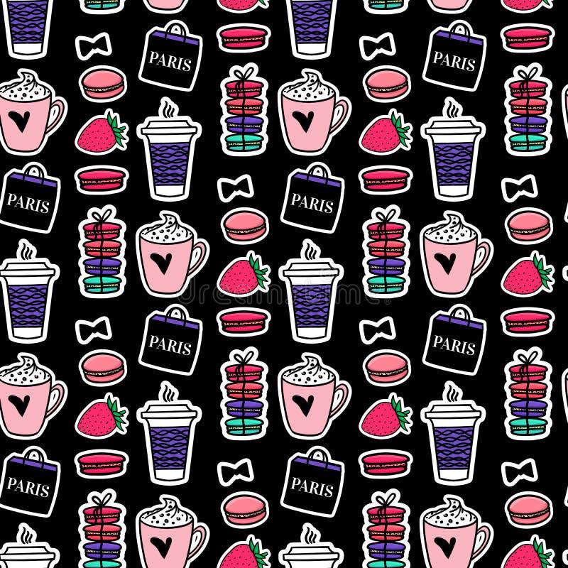 Bezszwowa deseniowa kawa i macaroons Paryż styl Nawierzchniowy projekt Wektorowego nakreślenia ilustracyjni majchery na czarnym t ilustracja wektor