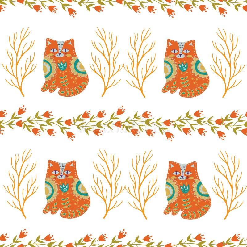Bezszwowa deseniowa kolorowa ilustracja z pięknymi kwiatami i kotami Skandynawa styl sztuki ceramika ludu miotacz ilustracji