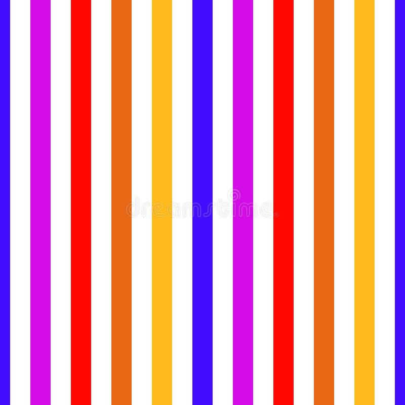 Bezszwowa deseniowa lampas czerwień, purpury, pomarańcze, błękit i kolorów żółtych kolory, Pionowo deseniowego lampasa tła wektor royalty ilustracja