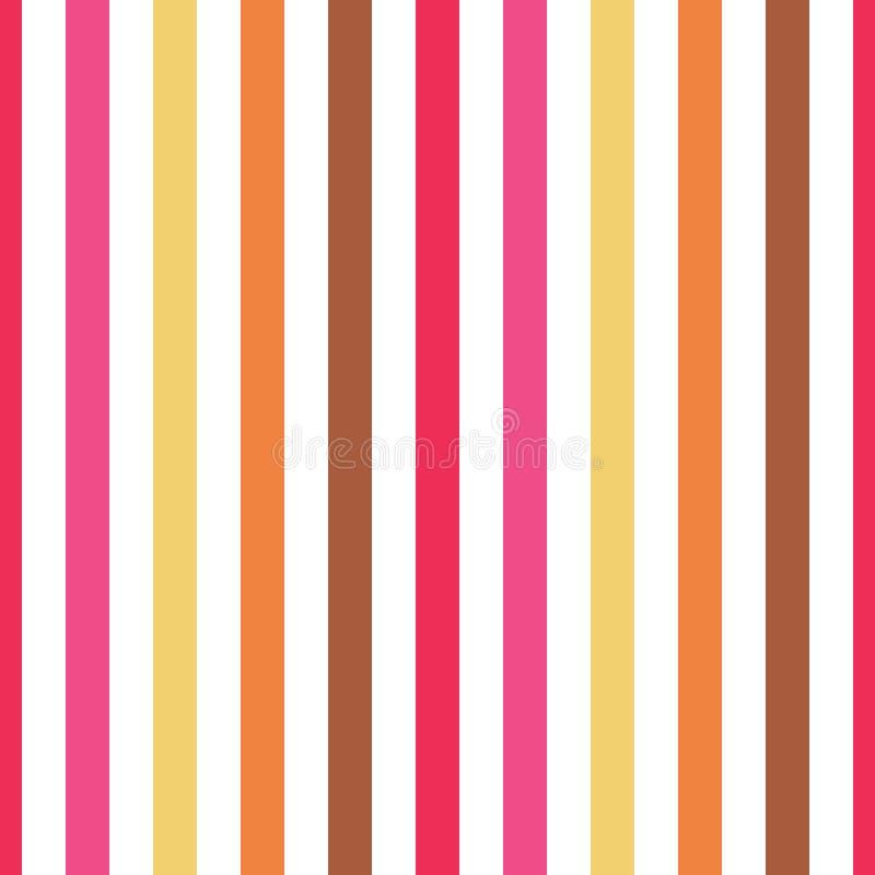 Bezszwowa deseniowa lampas menchia, czerwień, brąz, kolor żółty barwi Vertical wzoru lampasa tła wektoru abstrakcjonistyczna ilus ilustracja wektor
