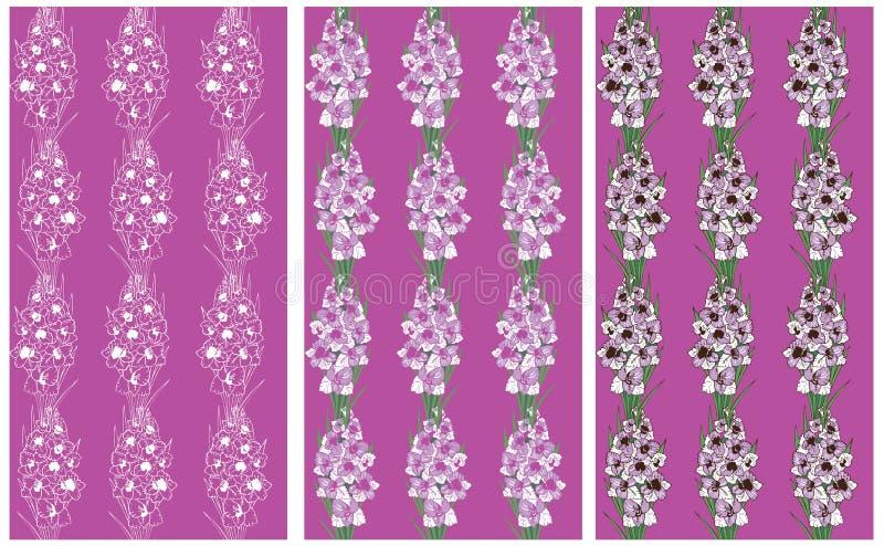 Bezszwowa deseniowa lawenda kwitnie gladiolusa royalty ilustracja