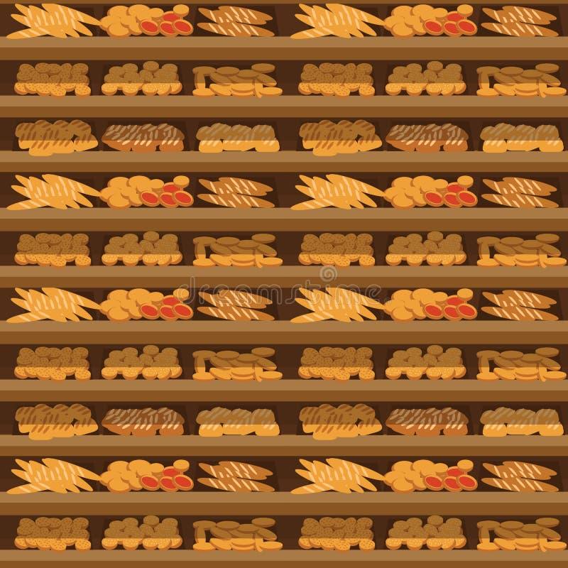 Bezszwowa deseniowa piekarni półka z chlebem w supermarkecie, duży wybór świeża produkt sprzedaż w karmowego sklepu wnętrzu, skle ilustracji