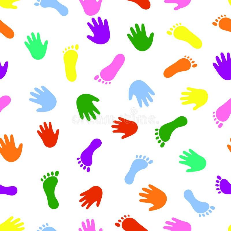 Bezszwowa deseniowa ręka i nożni kolorowi druki ilustracja wektor