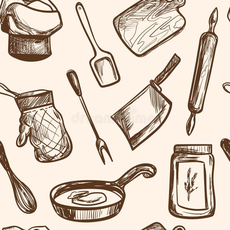 Bezszwowa deseniowa ręka rysujący kuchnia przedmioty royalty ilustracja
