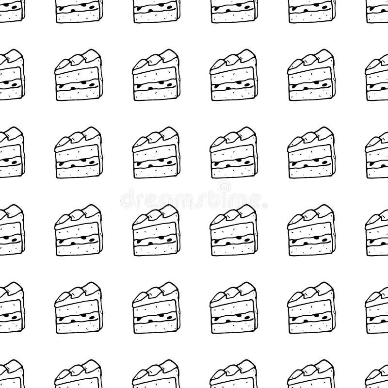 Bezszwowa deseniowa ręka rysujący tortowy doodle Nakreślenie stylowa ikona odszyfrowywa ilustracji