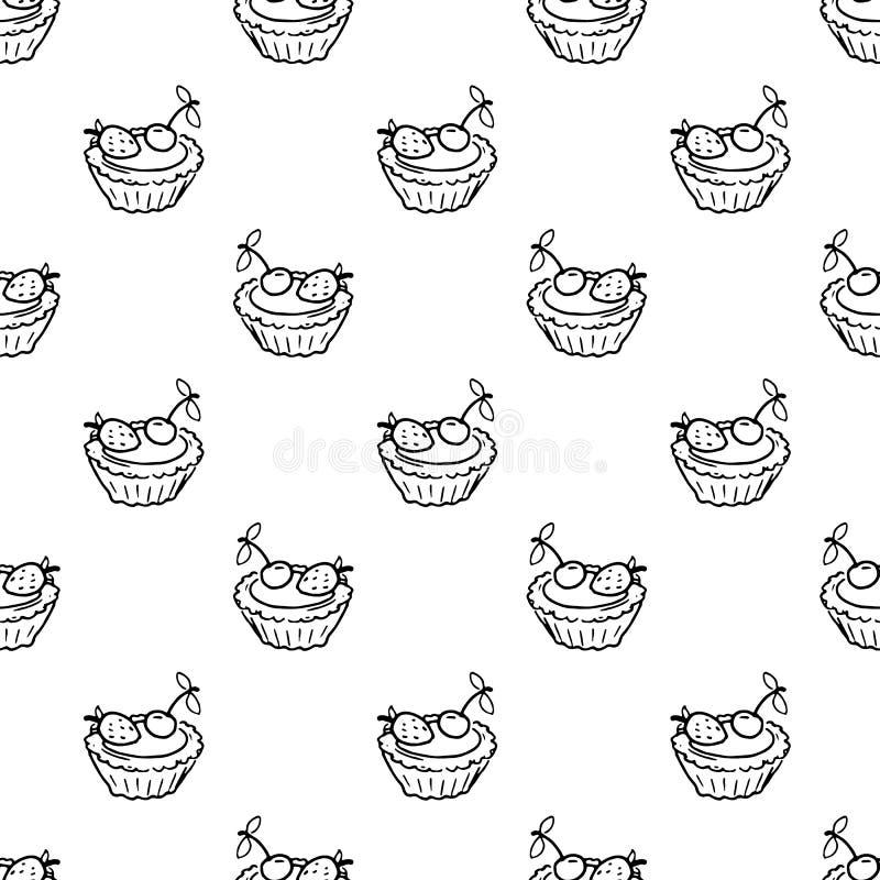 Bezszwowa deseniowa ręka rysujący tortowy doodle Nakreślenie stylowa ikona odszyfrowywa ilustracja wektor