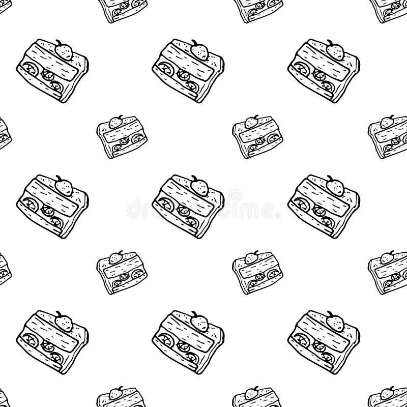 Bezszwowa deseniowa ręka rysujący tortowy doodle Nakreślenie stylowa ikona odszyfrowywa royalty ilustracja