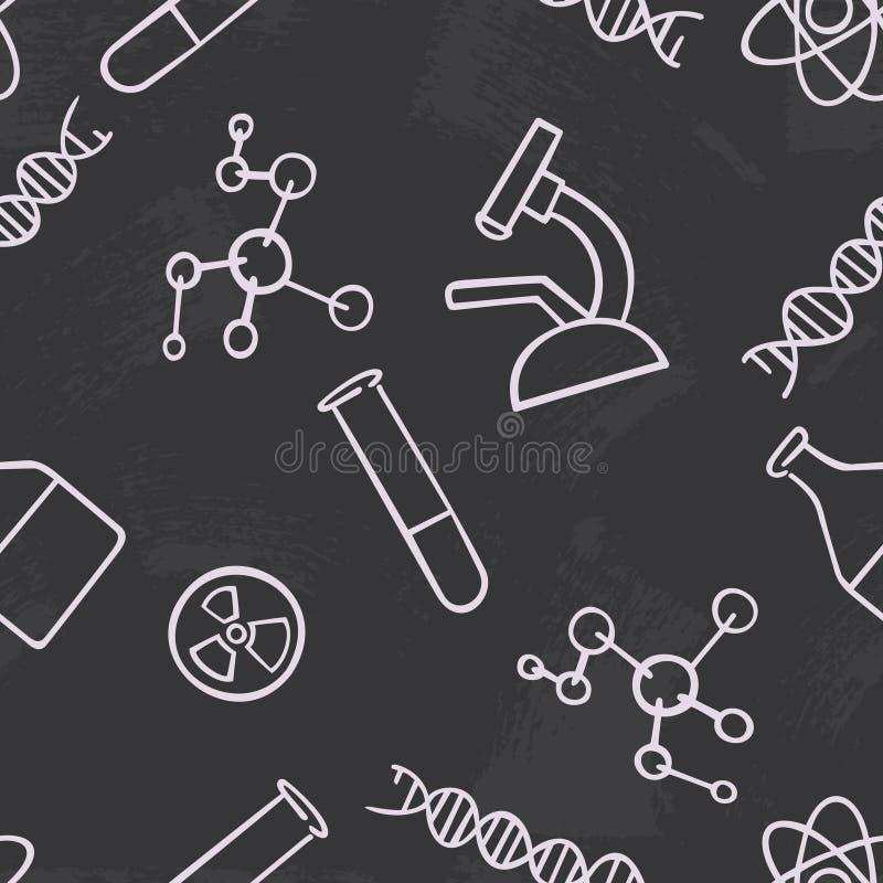 Bezszwowa deseniowa tło chemia Nauka wektor Tapetowi chemiczni instrumenty Uniwersytet i edukacja szkolna Illust ilustracji