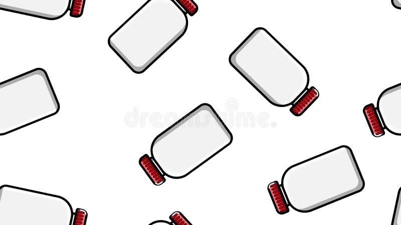 Bezszwowa deseniowa tekstura biali plastikowi medyczni pharmacetic s?oje z deklami leki, leki na bia?ym tle wektor royalty ilustracja