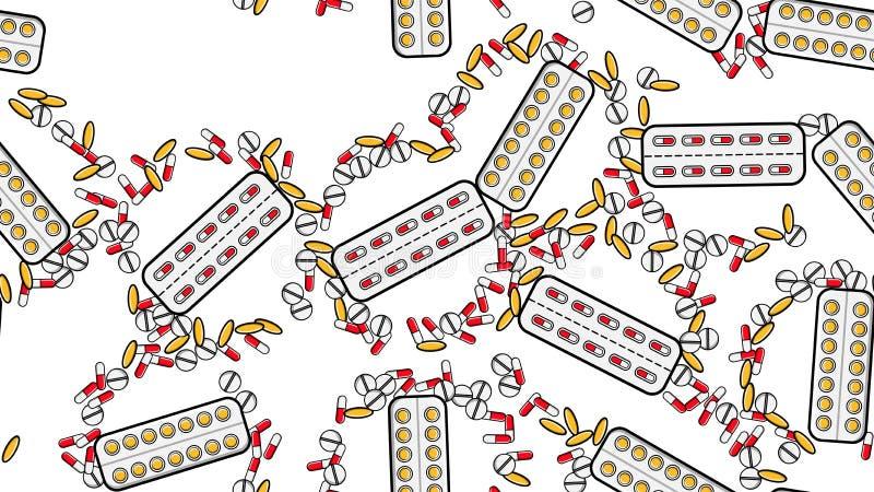 Bezszwowa deseniowa tekstura niekończący się powtórkowe medycyn pastylek pigułek dragee kapsuły i lekarstwo talerze z witaminami royalty ilustracja